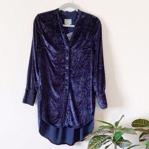 Anthropologie Maeve Blue Velvet Button Up Tunic
